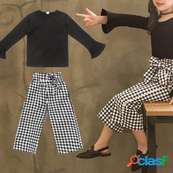 2 piezas vendimia ropa para niños niñas conjunto con volantes tops + plaid pantalones para 6y-15y