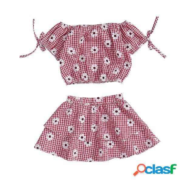 Conjunto de ropa floral para niñas con hombros descubiertos y falda corta para 1y-7y