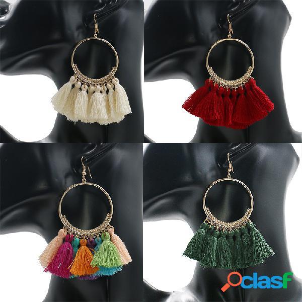 Pendiente de gota del oído de la vendimia hueco redondo colgante borla colorido de la tela colgante joyería étnica para las mujeres