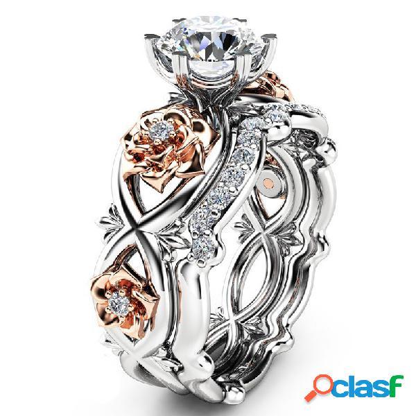 Set de anillos floral con circones