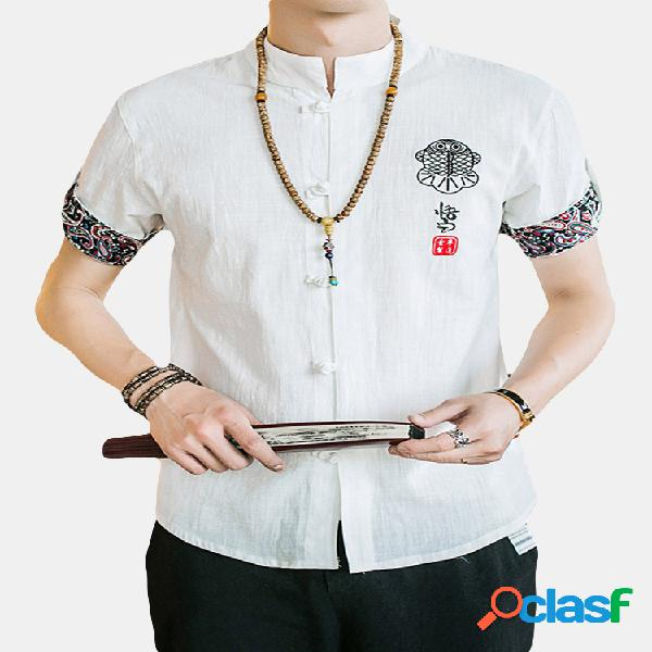 Camisa bordado lino algodón