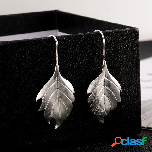 Moda plata de ley 925 pendientes simple grande hoja cuelga pendientes regalo para mujer