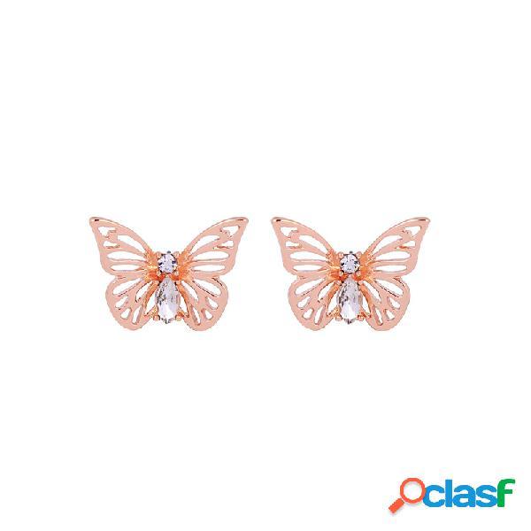 Moda plata rosa oro hueco mariposa insecto stud pendientes deslumbrante cristalino para mujer pendientes