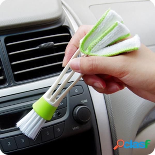 Cepillo de aire de doble cabezal aire acondicionado louver herramienta de limpieza de panel de instrumentos