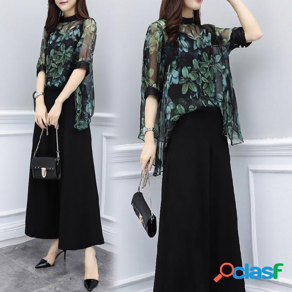 Nueva ropa de mujer de gran tamaño de dos piezas pantalones de gasa camisa de cintura alta pantalones anchos de la pierna traje de moda casual de las mujeres