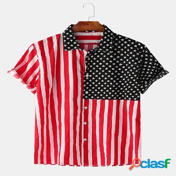 Camisas de manga corta con rayas y estrellas de patchwork para hombre
