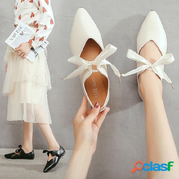 Puntiagudo solo zapatos femeninos nuevos zapatos casuales de guisantes zapatos de trabajo boca baja zapatos de las mujeres de un pie agazapado