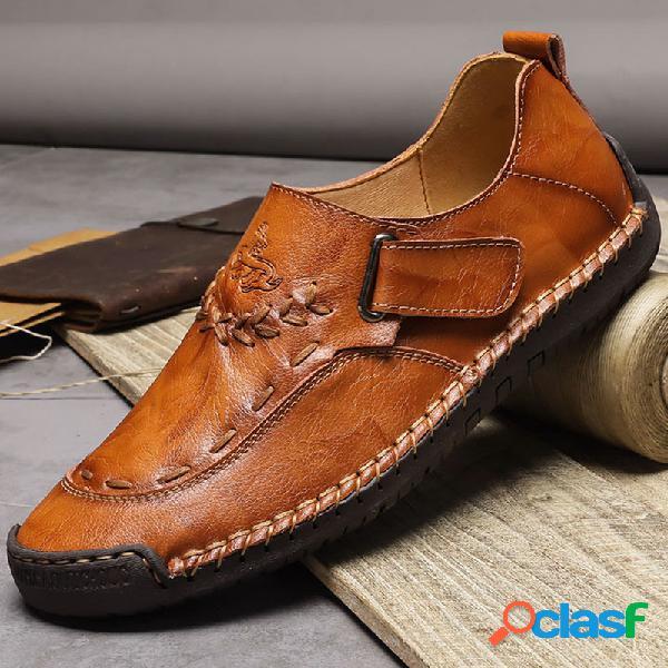 Hombre cosido a mano cuero cómodo soft gancho loop casual shoes