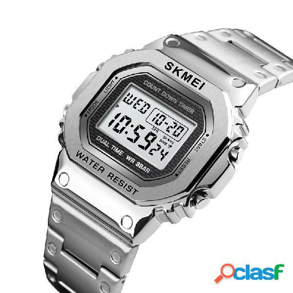 Led cronógrafo cuenta atrás aleación caso acero inoxidable impermeable reloj digital reloj para hombre
