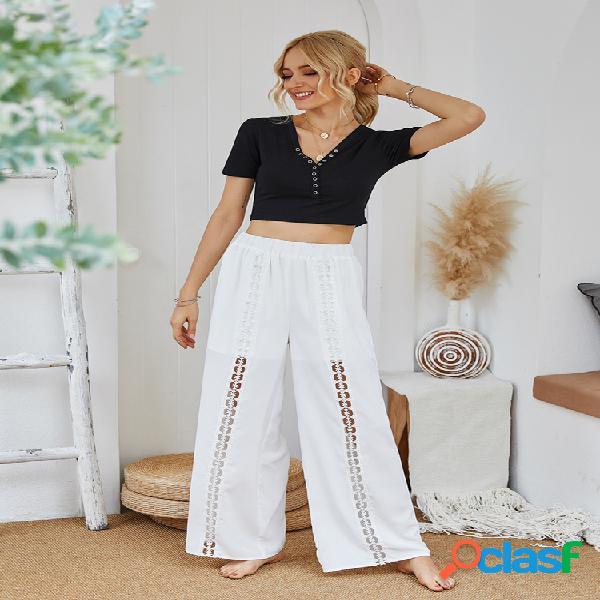 Mujer color sólido casual suelta noveno pantalones