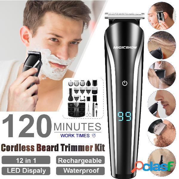 12-en-1 multifunción cabello trimmer usb recargable impermeable cabello trimmer