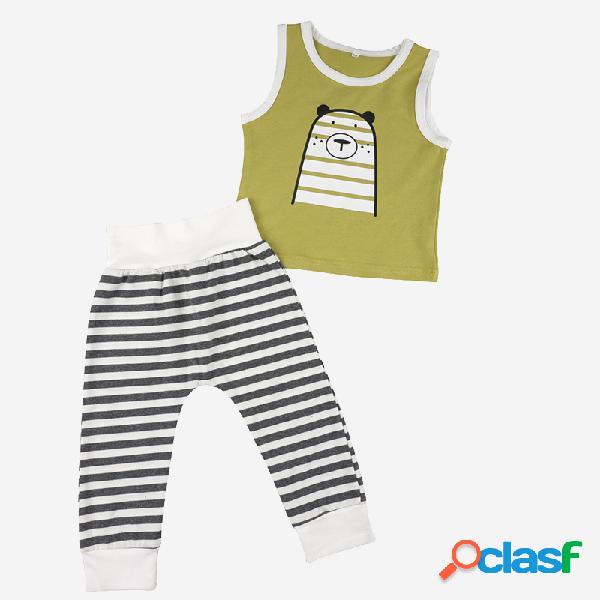 Bebé lindo oso estampado sin mangas chaleco + rayas pantalones traje de ropa casual para 3-24 m