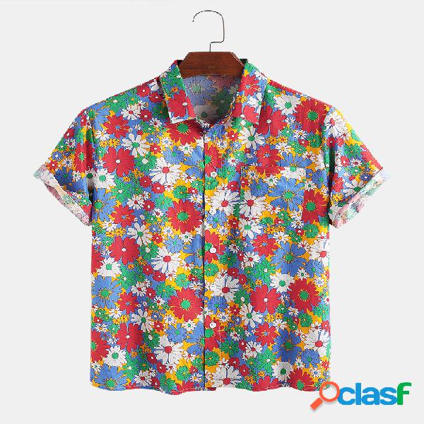 100% algodón colorful daisy printed lapel casual holiday camisa para hombres mujer