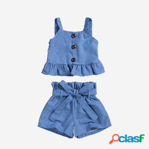 Chaleco antideslizante con volantes para niña + conjunto informal con cordones pantalones para 1-7y