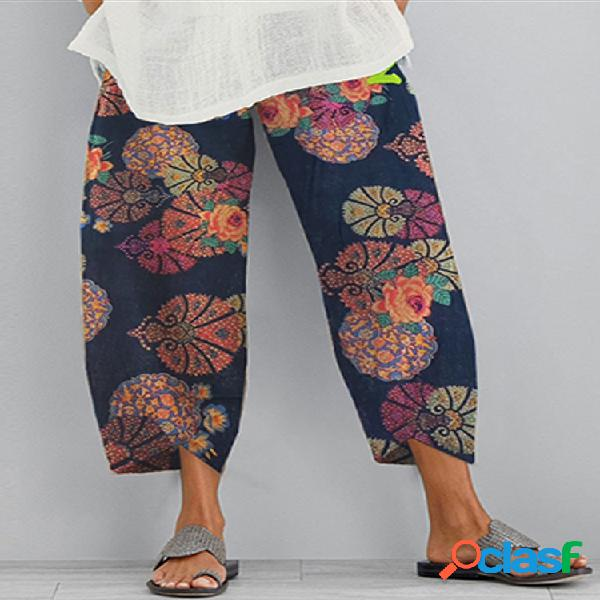 Pantalón casual estampado de flores mujer pantalón de cintura elástica