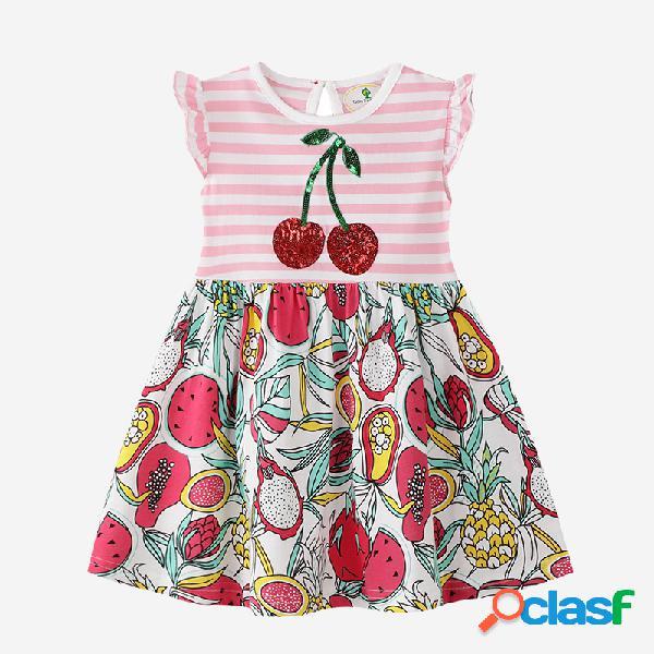 Mangas voladoras para niña a rayas colorful cereza estampado con lentejuelas casual vestido para 2-10y