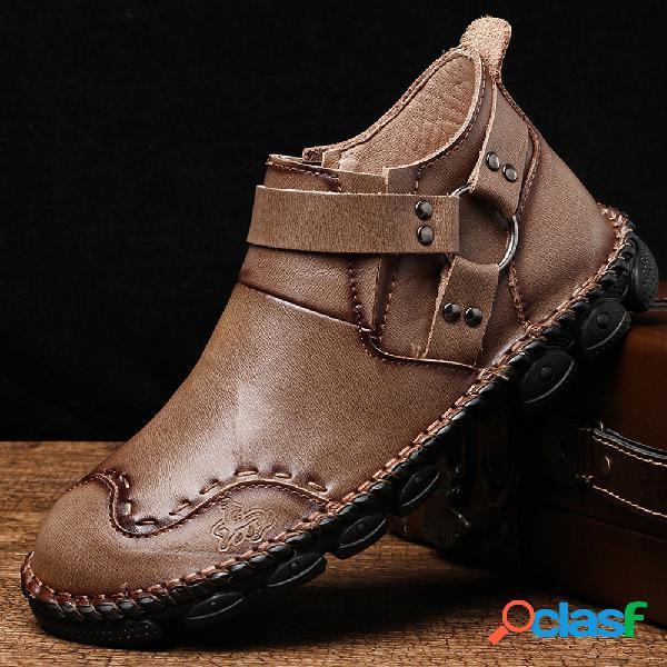 Menico hombres correa para el arnés costura a mano cuero cómodo soft elegante tobillo botas