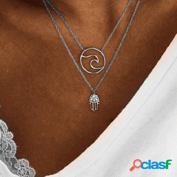 Moda hollow palm colgante collar collar de cadena de múltiples capas de metal bohemio