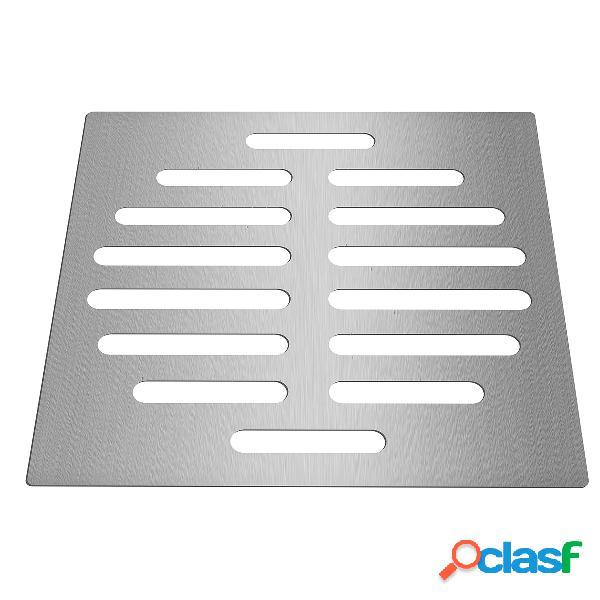 Cubierta de drenaje de piso de acero inoxidable de 6 pulgadas, protector de drenaje de piso, forma cuadrada, acero inoxidable