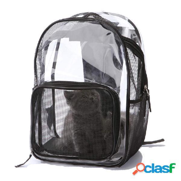 Bolsa de transporte de mascotas transparente moda que lleva el gato cachorro de perro confort viaje mochila al aire libre