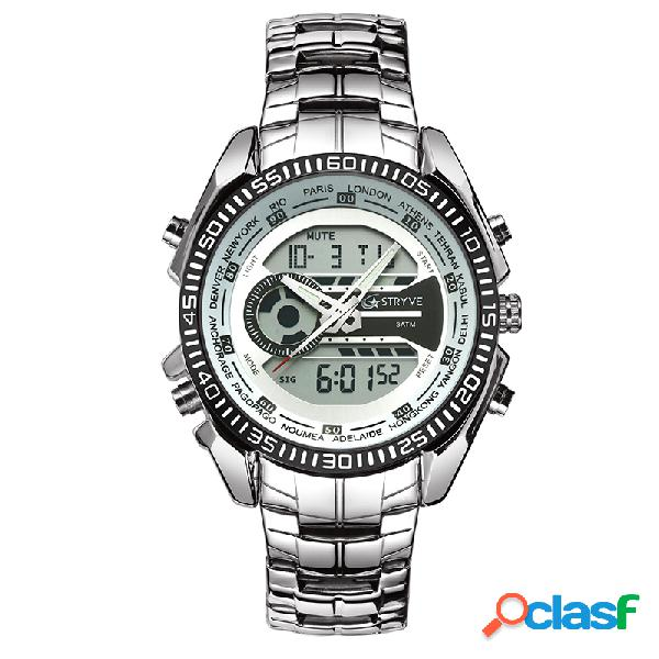 Reloj de hombre de negocios reloj de acero inoxidable cronómetro cronómetro alarma led dual pantalla digital