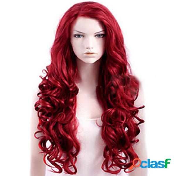 Flequillo inclinado rojo largo rizado cabello big wave anime fibra química cabello peluca