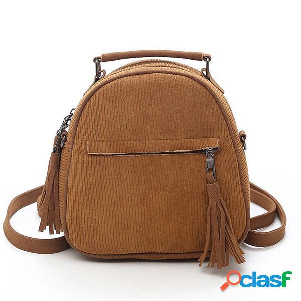 Mujer crossbody multifunción de pana bolsa mochila sólida con borlas vendimia hombro bolsa