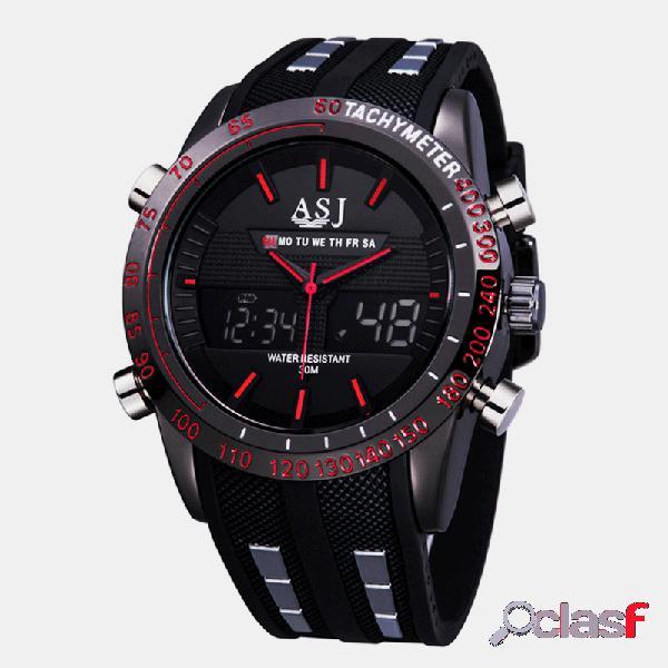 Reloj deportivo de moda para hombre cuero de pu banda dial 3d diseño led pantalla luz de fondo led pantalla