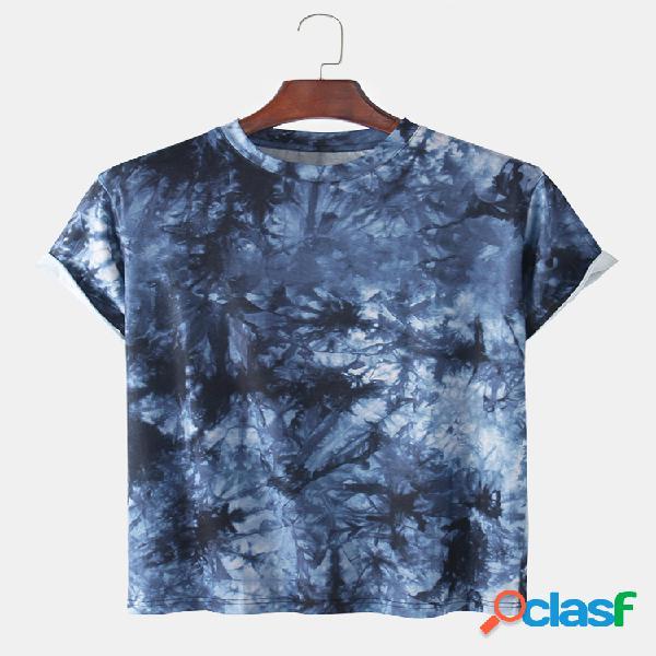 Camisetas con cuello redondo sueltas y transpirables con estampado tie dye para hombre