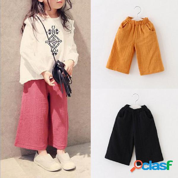 Pantalón de algodón de color sólido para niñas pantalones niños casual escuela ropa para 1y-7y