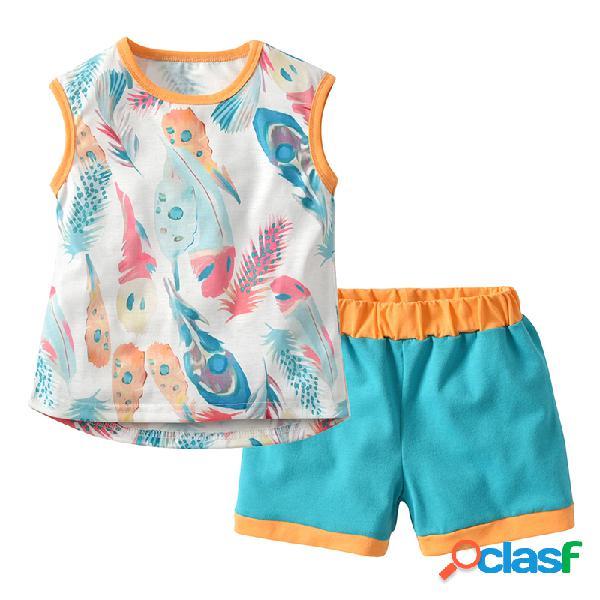 Conjunto de ropa para niñas pequeñas con estampado de plumas chaleco + pantalones cortos ropa de verano para 1y-7y