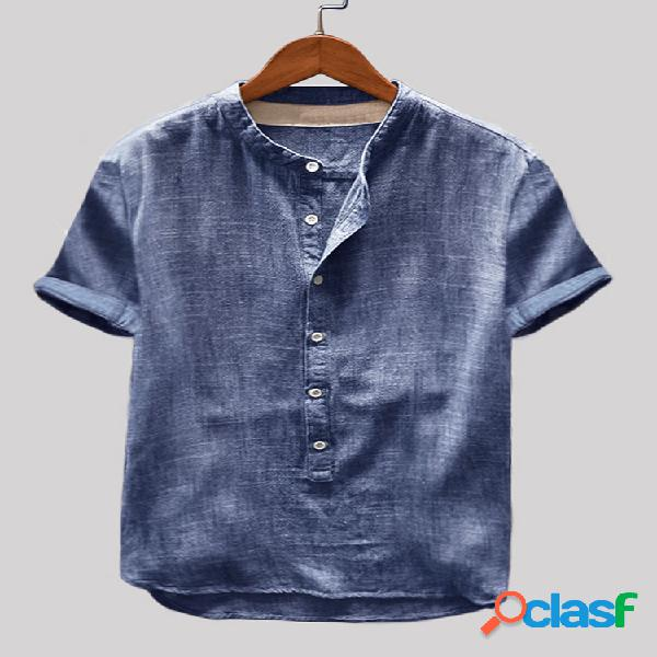 Ropa de algodón para hombre vendimia cuello alto liso casual henley camisa