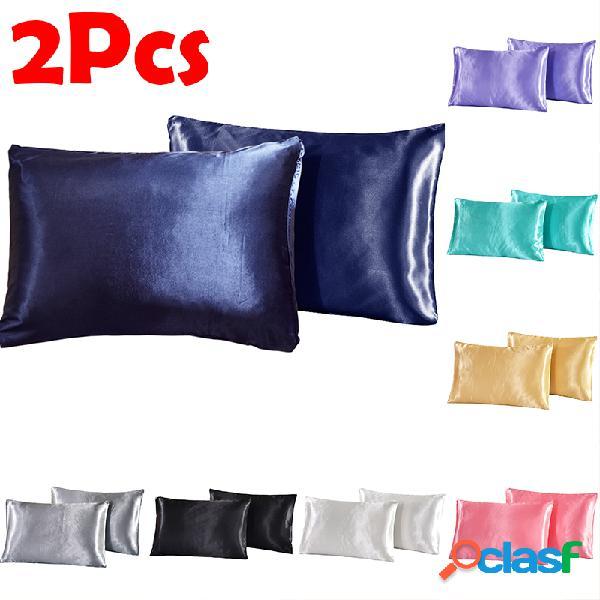 2 piezas / juego soft almohada de satén de seda caso ropa de cama de color sólido funda de almohada cubierta del hogar lisa silla asiento decoración