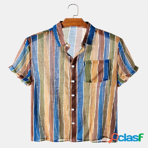 Camisas de diseñador ligeras de manga corta a rayas colorful transparentes para hombre