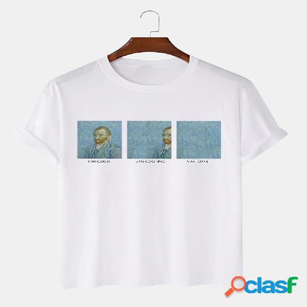 Camisas de manga corta 100% algodón para hombre van gogh funny patrón