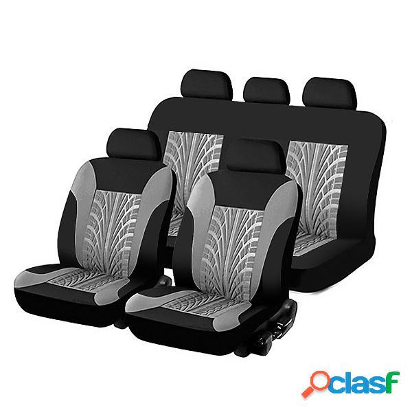 Universal 9pcs juego completo fundas para asientos automáticos riel de neumático en relieve coche cubierta de asiento para coche camión suv van 4 colores material de poliéster duradero
