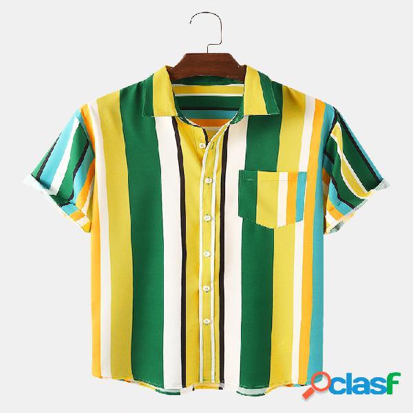 Camisas casuales de manga corta con estampado de rayas Colorful para hombre