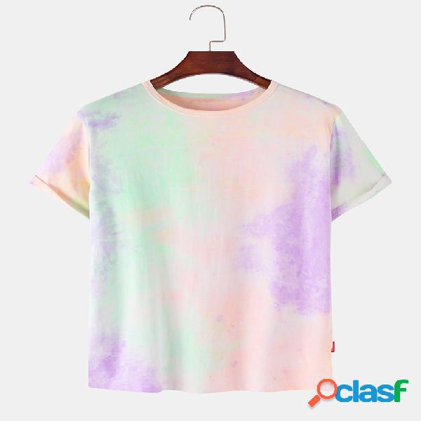 Camisetas con cuello redondo transpirables sueltas con estampado tie dye para hombre