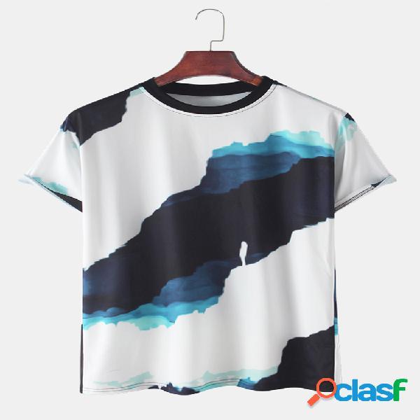 Camisetas para hombre con estampado tie dye, sueltas, ligeras, redondas Cuello