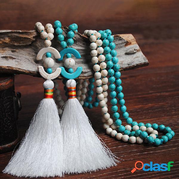 Collar largo de cuentas de madera bohemia de 8 mm Azul blanco Turquesa Collar de borlas geométricas con cuentas Colgante