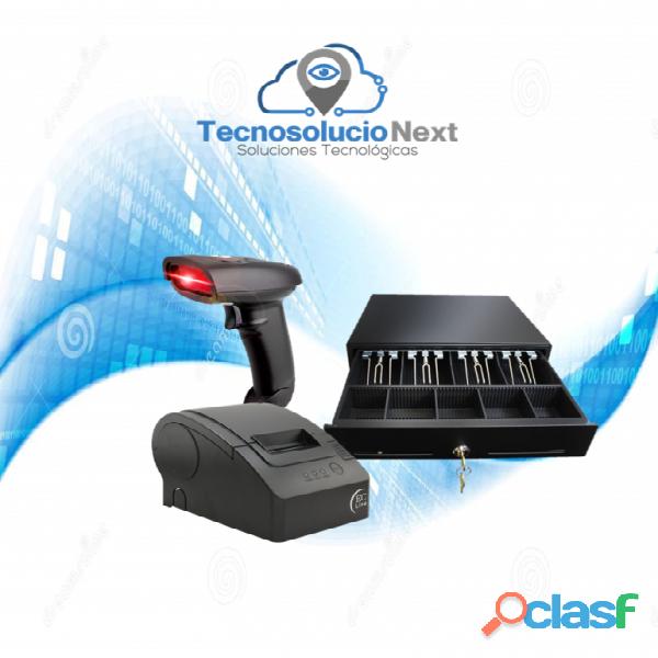 Kit Impresora con Lector Pos USB Punto de Venta 58 mm Cajón Chico