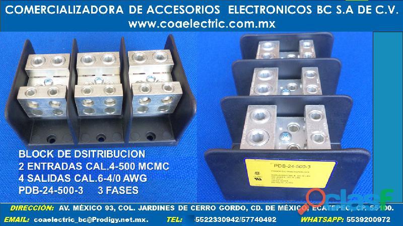 Block de distribucion 2 entradas cal.4 500 4 salidas cal.6 4/0 awg 3 fases