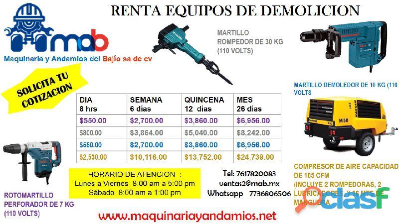 RENTA DEMOLEDOR , ROTOMARTILLO Y COMPRESORES DE AIRE