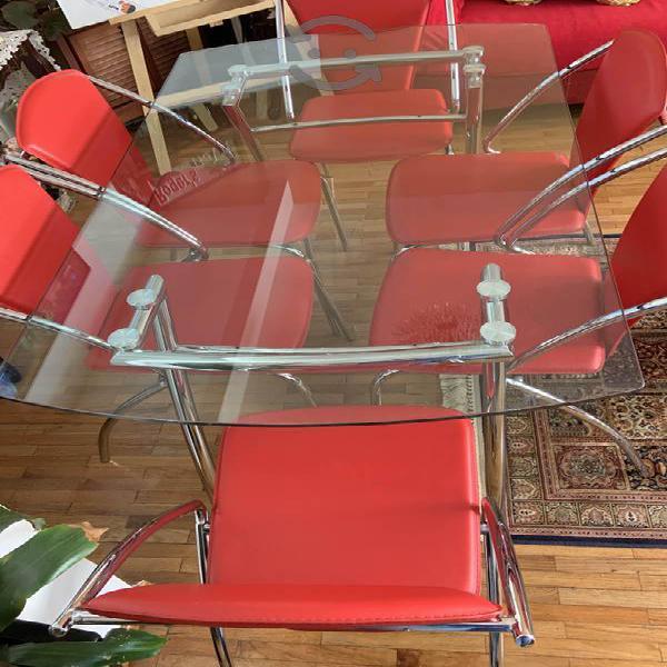 Comedor 6 piezas rojo mesa vidrio