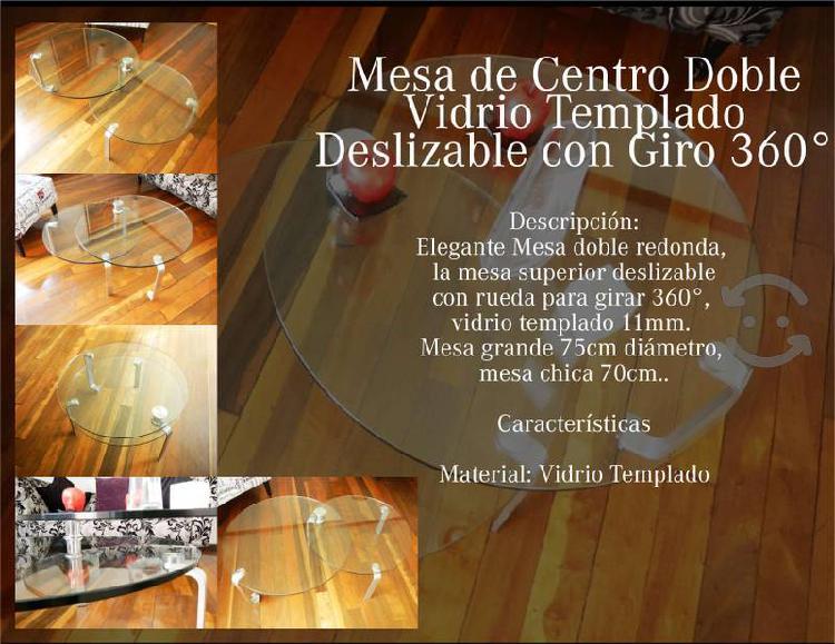 Mesa de centro doble vidrio