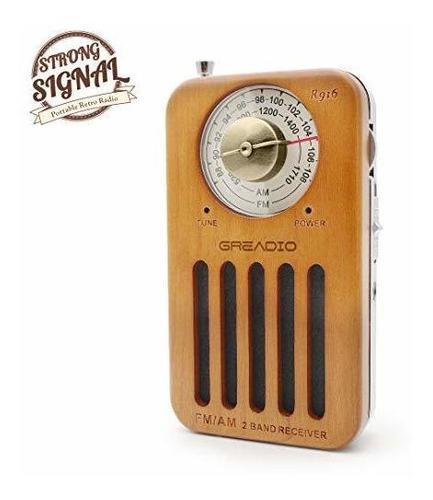 Radio portátil am/fm, radio de bolsillo retro de madera de