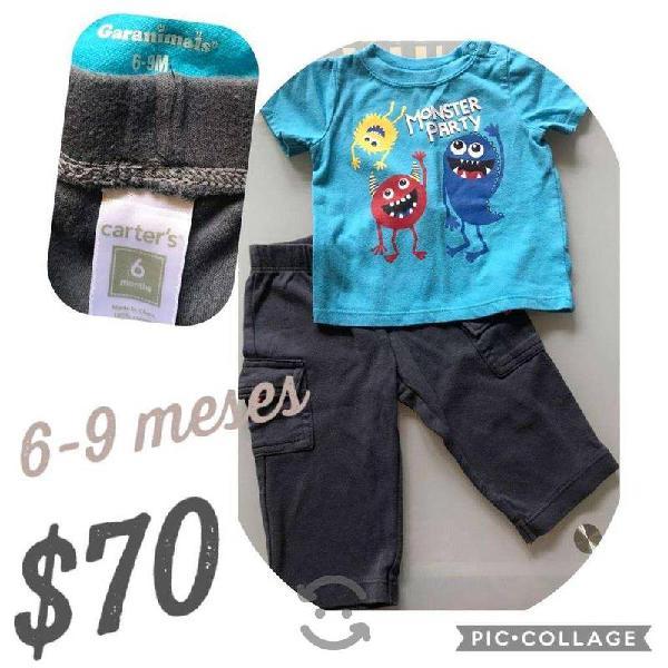 6 conjuntos de ropa bebe niño como nueva carters