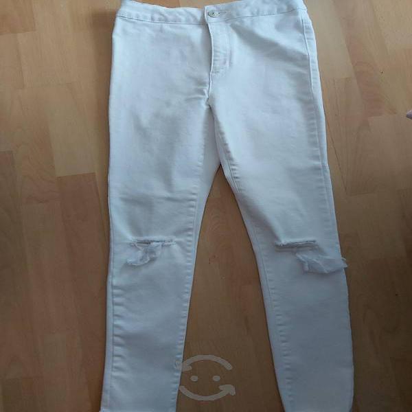 Pantalón niña zara mezclilla blanco