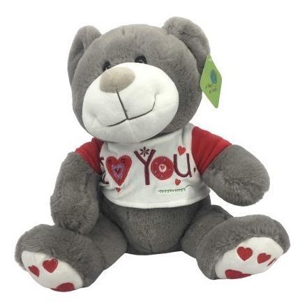 Peluche oso color gris 40cm regalo precio mayoreo