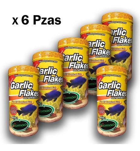 6 alimento peces con ajo garlic flakes 150 g enriquecido